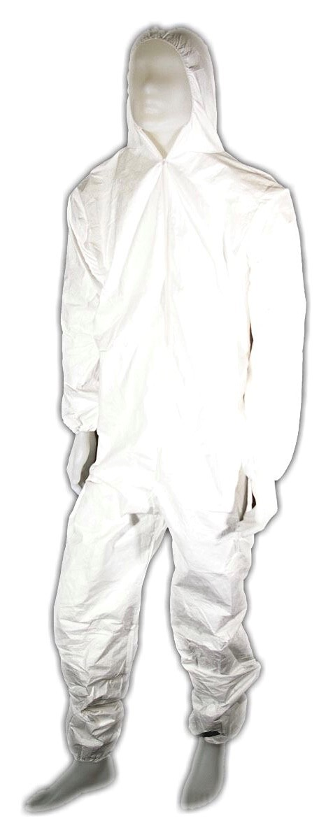 Tyvek coveralls with attached hood